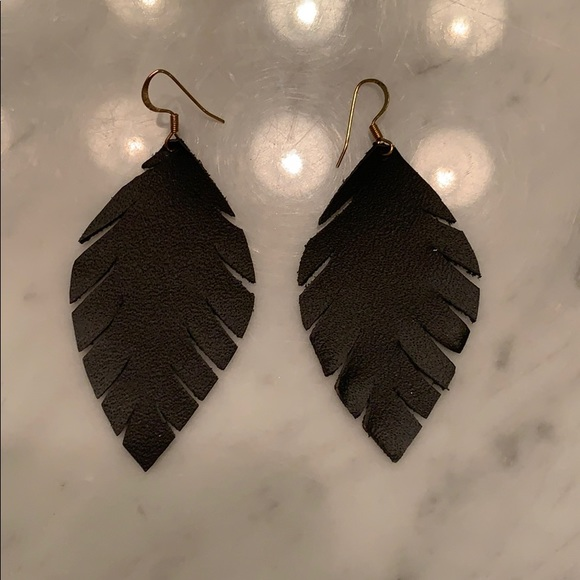 Handmade red leather earrings